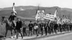 Jurassier demonstrieren gegen die «150 Jahre Belästigung» durch den Kanton Bern, 1965