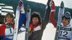 Skifahren konnte sie: Vreni Schneider, hier 1984 nach ihrem ersten Weltcupsieg. Aber wie gut stehen ihre Chancen auf eine Karriere als Schlagersängerin?