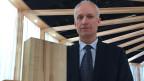 Stefan Vögtli, Geschäftsführer der Fagos, wirbt an der Swissbau für Buchenholz als Baustoff.