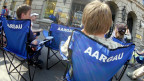 Überall blaue Stühle in Zürich: Sie waren Teil des Aargauer Auftritts am Secheläuten 2006.