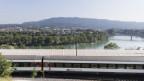 Ein rasender Zug auf einer Bahnstrecke am Rhein.