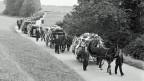 Der lange Trauerzug von Humlikon zum Trauergottesdienst nach Andelfingen.