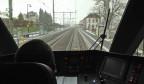 Der Blick aus dem Führerstand der neuen S-Bahn Schaffhausen.