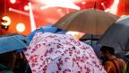 Geöffnete Regenschirme versperren den Blick