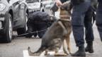 Kantonspolizisten untersuchen Autos auf dem Weg zum WEF