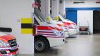 Rettungsfahrzeuge stehen in einer Halle zur Abfahrt bereit.