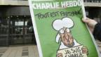 """Il frontispizi da l'ultima ediziun da «Charlie Hebdo»: """"Tut è perdunà"""" – er Mohammed bragia per las victimas da l'attentat."""