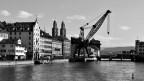 Das zur Zeit wahrscheinlich meistdiskutierte Kunstobjekt der Schweiz: Der geplante Hafenkran in der Stadt Zürich.