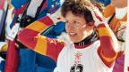 1988: Vreni Schneider jubelt über ihre beiden Goldmedaillen an den Olympischen Spielen in Calgary.
