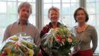 Aaron Teuscher und Alice Hofer mit «Persönlich»-Gastgeberin Katharina Kilchenmann (v.l.n.r.).