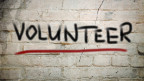 Mauer mit «Volunteer»-Aufschrift.