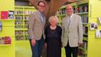 Gastgeber Christian Zeugin mit Juristin Magdalena Rutz und Sammler Dieter Stalder.
