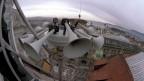 Sirenenanlage auf einem Dach in Zürich.