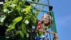 Ein Kind schaut von einem mit Pflanzen bewachsenen Balkon und lacht.