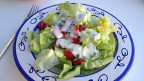 Grüner Salat mit Joghurtsauce angerichtet.