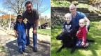 Zwei Väter mit ihren Kindern posierend.