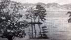 Die Insel von Choisi bei Bursinel, gemalt von Winston Churchill in Öl auf Leinwand (1946)