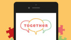 Zeigt die App auf dem Handy. Ein Sprechwolke mit dem «together»-Logo drauf. Zudem ein Inhaltsverzeichniss der Wissenkategorien.