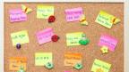 Korktafel mit verschiedenfarbigen Post-it Zettelchen. Daruf sind Ausdrücke in verschiedenen Sprachen geschrieben.