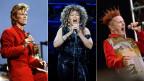 Drei Musiker mit ausgefallenen Frisuren jeweils mit einem Mikrofon in der Hand. Von links nach rechts: David Bowie, Tina Turner und Johnny Rotten von den Sex Pistols.