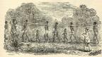 Zeichnung einer Gruppe Sklaven auf dem Weg zum Hafen.