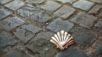 Eine Jakobsmuschel aus Metall liegt auf dem gepflasterten Boden.