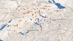 Orange Punkte auf der Schweizer Karte zeigen, wo bereits Freiwillige aktiv sind und wo nicht.