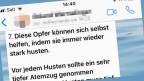 Audio «Whatsapp-Kettenbrief: Husten hilft nicht gegen Herzinfarkt!» abspielen.