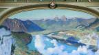 Gemälde mit See, Bergen, Wolken