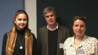Mathilde Wyss (Projektteilnehmerin), Urs Albrecht (Lehrer), Florence Aggeler (Leiterin Sprachpanorama)