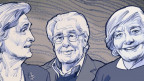 Portraitzeichnungen von drei Senioren.