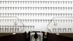 Fragezeichen mit Schreibmaschine geschrieben.