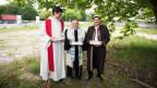 Bei der Einweihung des «House of one» sind ein Rabbi, ein Priester und ein Imam anwesend.