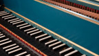 Die Tastatur eines Cembalos
