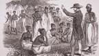 Alte Druckgrafik: Ein Missionar bekehrt Indier.