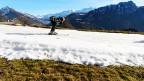 Ein Skiläufer auf einem künstlichen Schneehang.