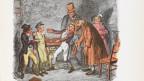 Oliver landet bei Fagin und seiner Bande. Illustration von George Cruikshank für die Erstausgabe von Charles Dickens. Coloriert in 1911.