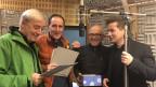 Ueli Jäggi, Stefan Kurt, Geri Dillier und Arno Camenisch während der Aufnahmen.