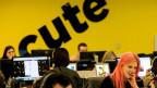 Mehrere Menschen vor Computerbildschirmen, im Hintergrund an der Wand steht gross geschrieben «cute».