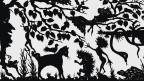 Scherenschnitt: Fabelhafte Märchengestalten und -tiere in einem Wald.