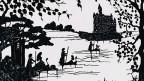 Kane fahren in Richtung eines Schlosses auf einer Insel.