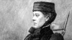 Zeichnung einer Frau mit Hut und einem ernsten Blick.