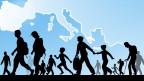 Grafik: Menschen unterwegs, im Hintergrund eine Karte Europas.