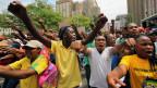 Junge Schwarze bei einer Demonsration
