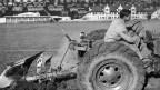 Ein Bauer pflügt während dem zweiten Weltkrieg ein Sportplatz in Zürich.