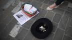 Geht nur mit den richtigen Papieren: eine Strassenmusikerin in Chur.