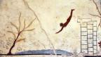 Darstellung aus der Antike einer Person, die ins Wasser springt.