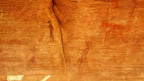 Prähistorische Felsbilder in Erkeyez, Westsahara.