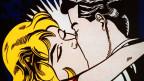 Druckgrafik eines Mannes und einer Frau, die sich küssen