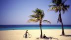 Weisser Sandstrand mit Palmen und dahinter türkisfarbenes Meer.
